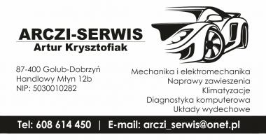 Arczi Serwis Handlowy Młyn 12B Auto naprawa wizytówka